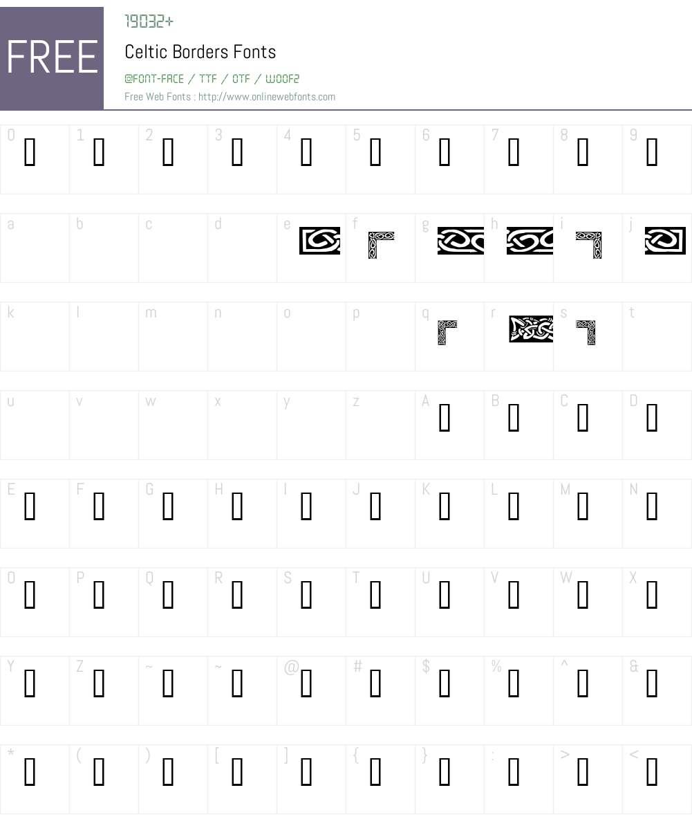 Celtic Borders Font Screenshots