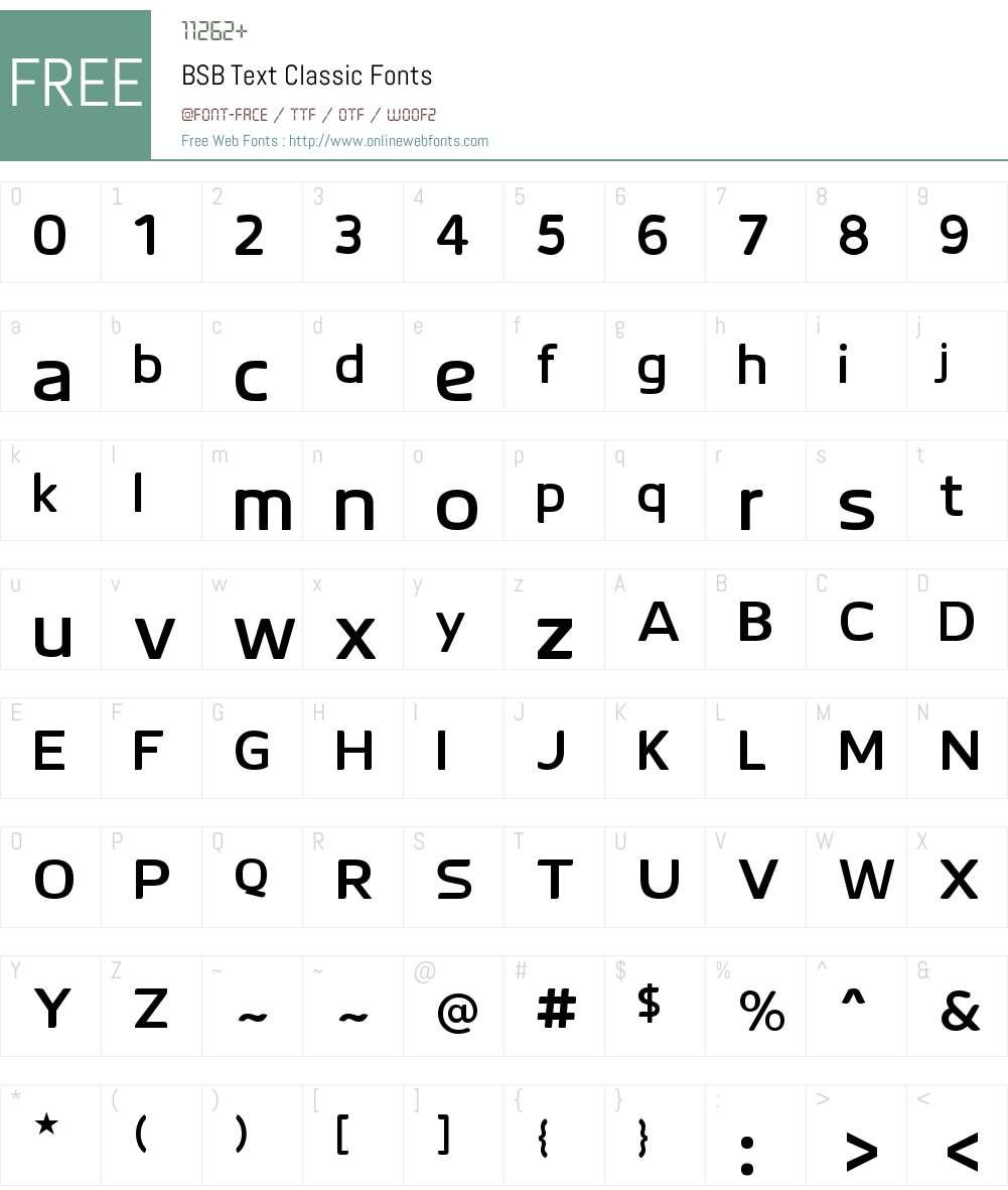 BSB Text Classic Font Screenshots