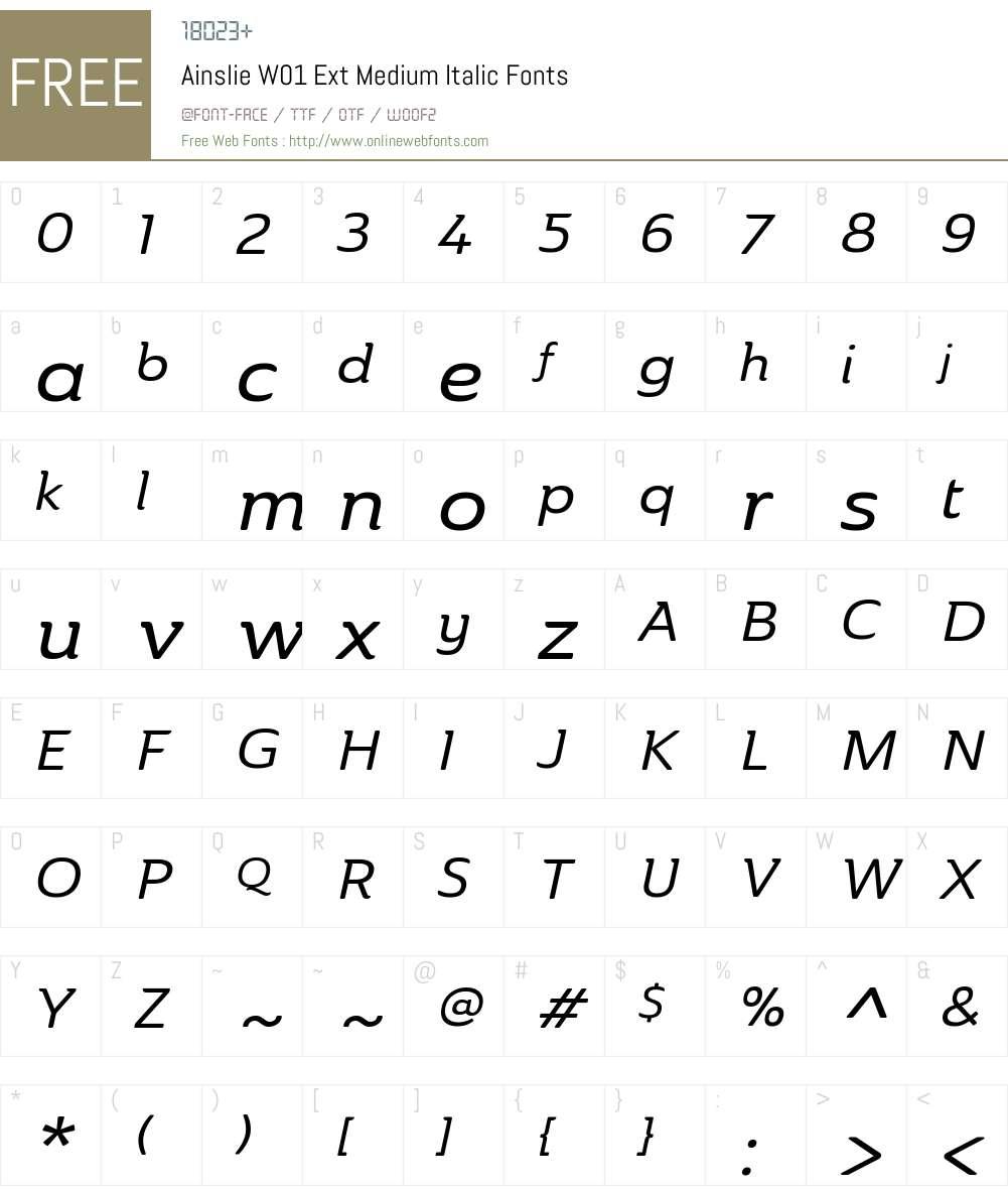 AinslieW01-ExtMediumItalic Font Screenshots