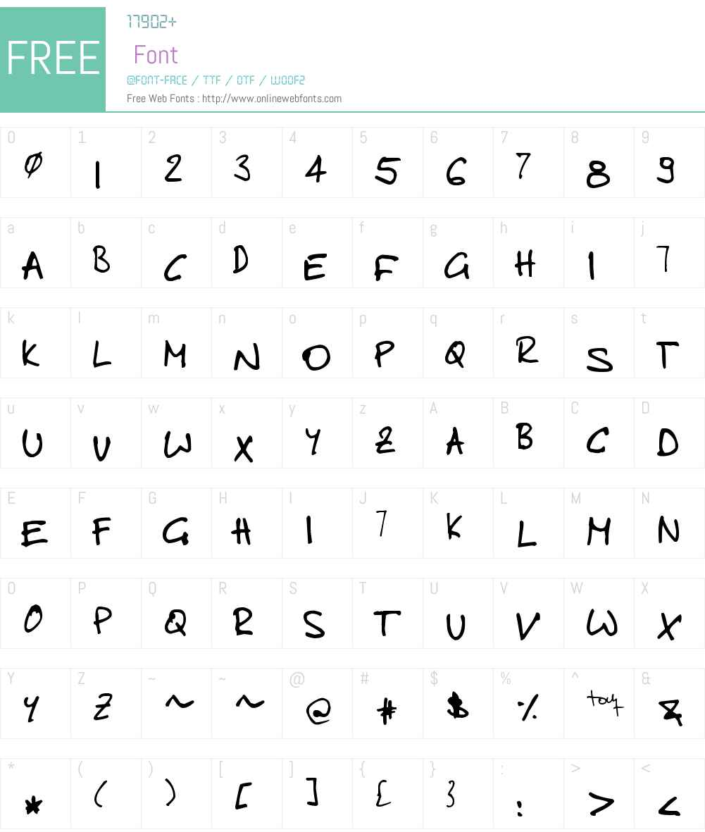 toms handwritten new Font Screenshots