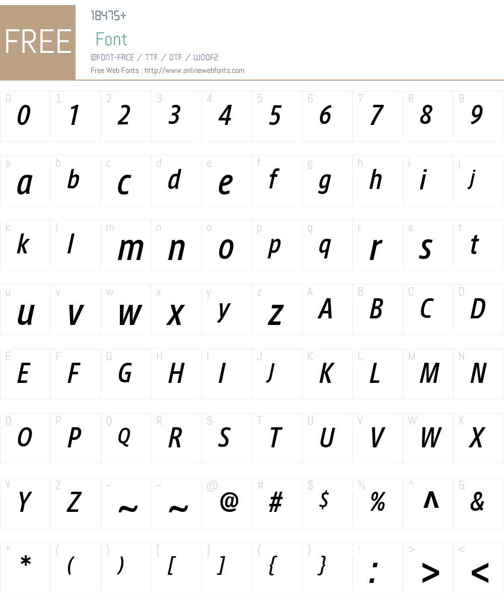 AxisLatinCondPro-MediumIt Font Screenshots