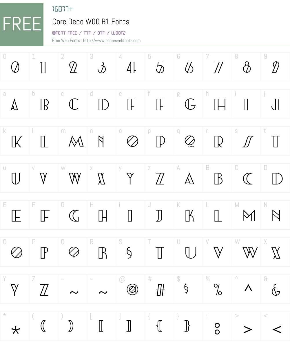 CoreDecoW00-B1 Font Screenshots
