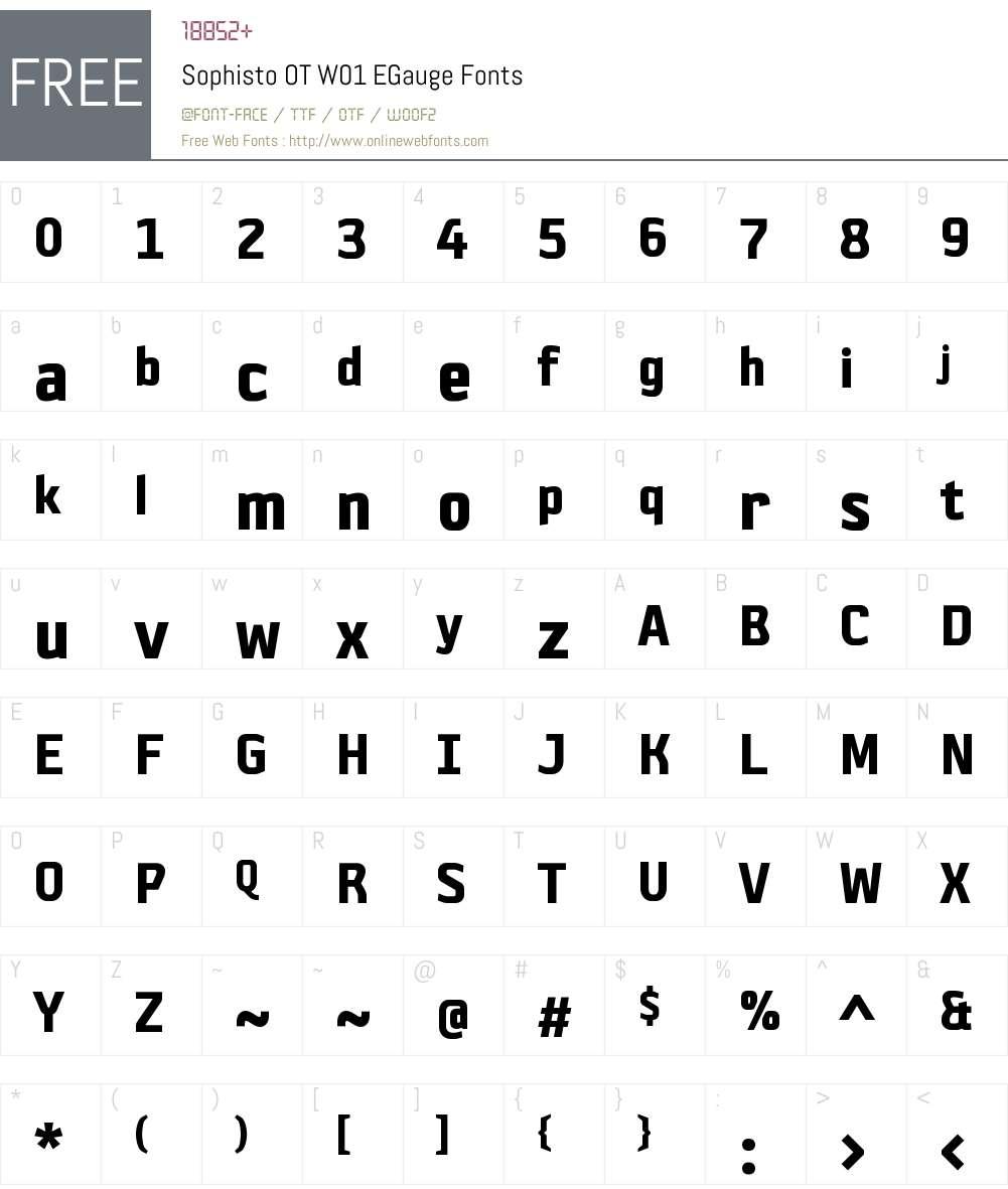 SophistoOTW01-EGauge Font Screenshots