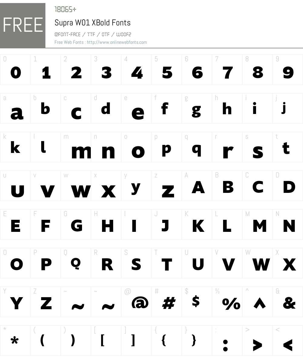 SupraW01-XBold Font Screenshots
