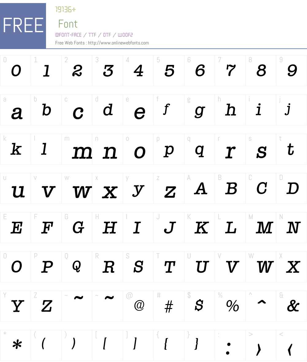 Typewriter-MediumIta Font Screenshots