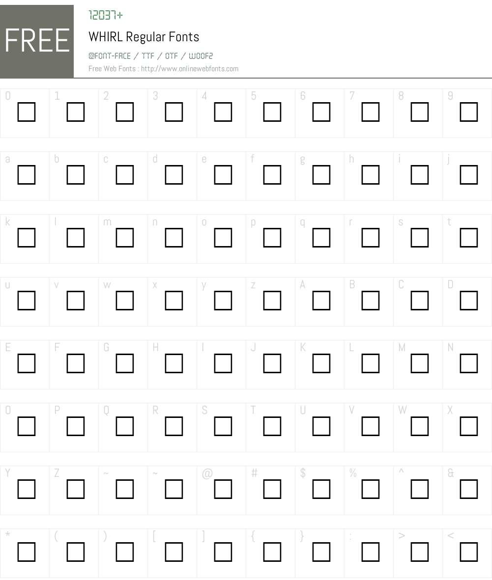 WHIRL Font Screenshots