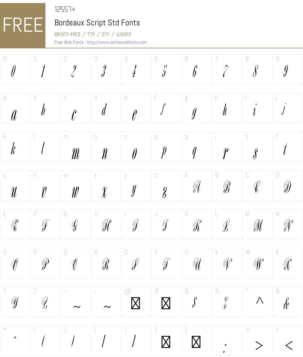 Bordeaux Script Std Font Screenshots