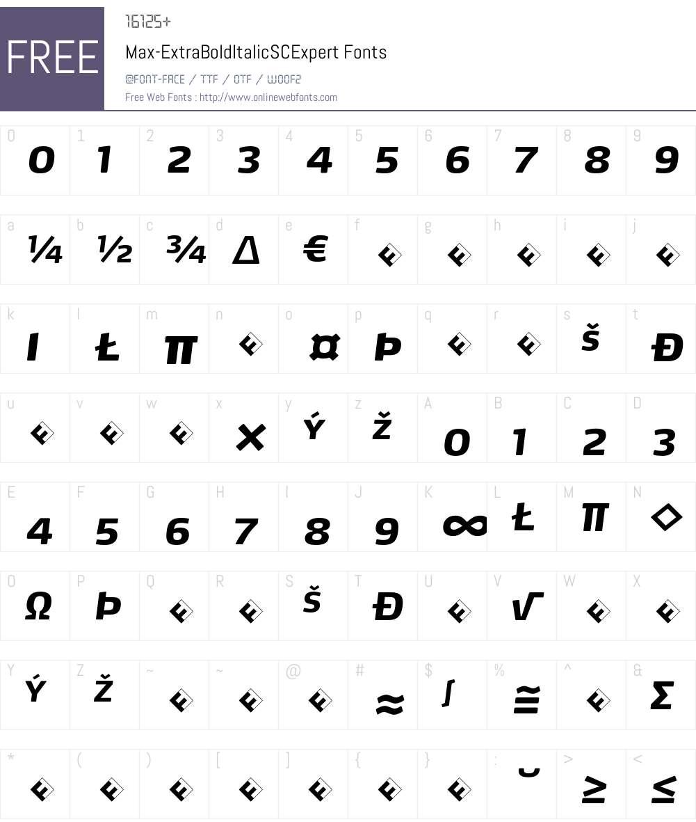 Max-ExtraBoldItalicSCExpert Font Screenshots