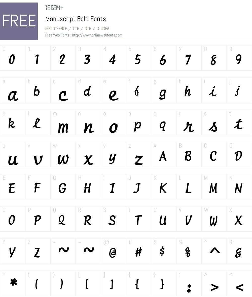 Manuscript Font Screenshots