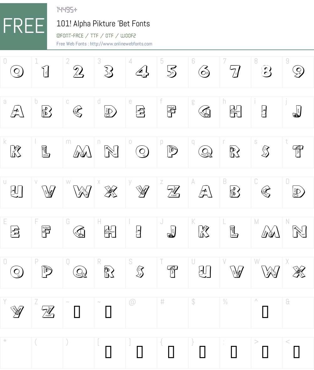 101! Alpha Pikture 'Bet Font Screenshots