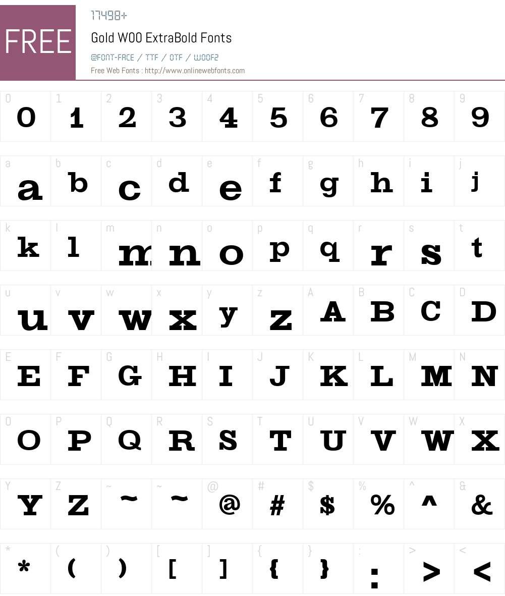GoldW00-ExtraBold Font Screenshots
