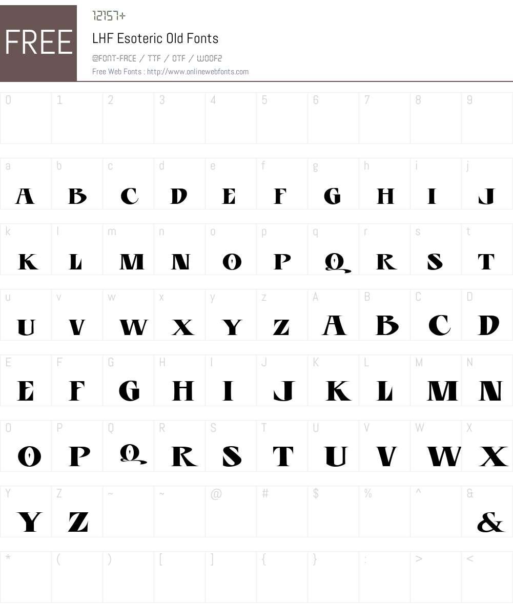 LHF Esoteric Old Font Screenshots