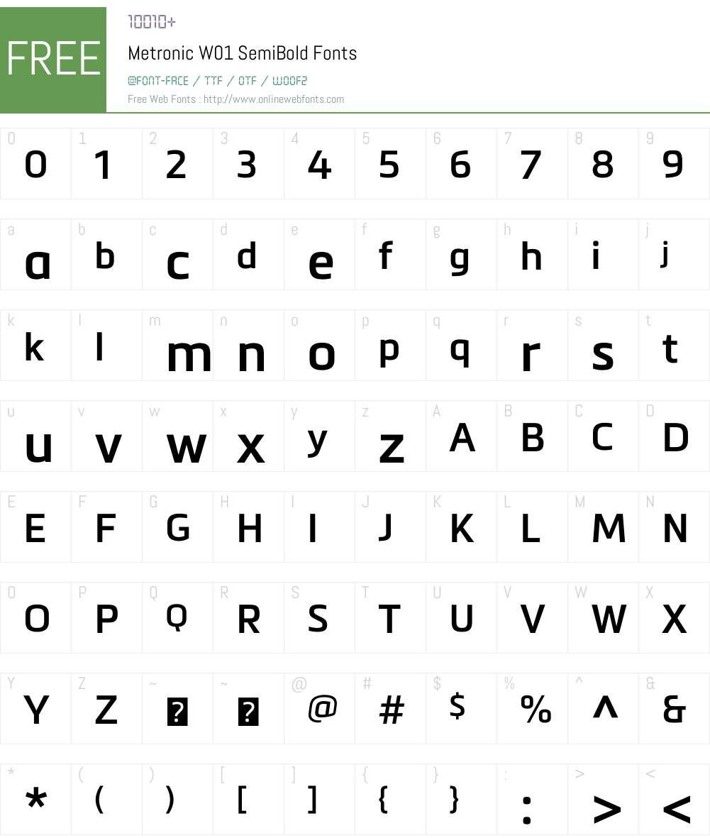 MetronicW01-SemiBold Font Screenshots