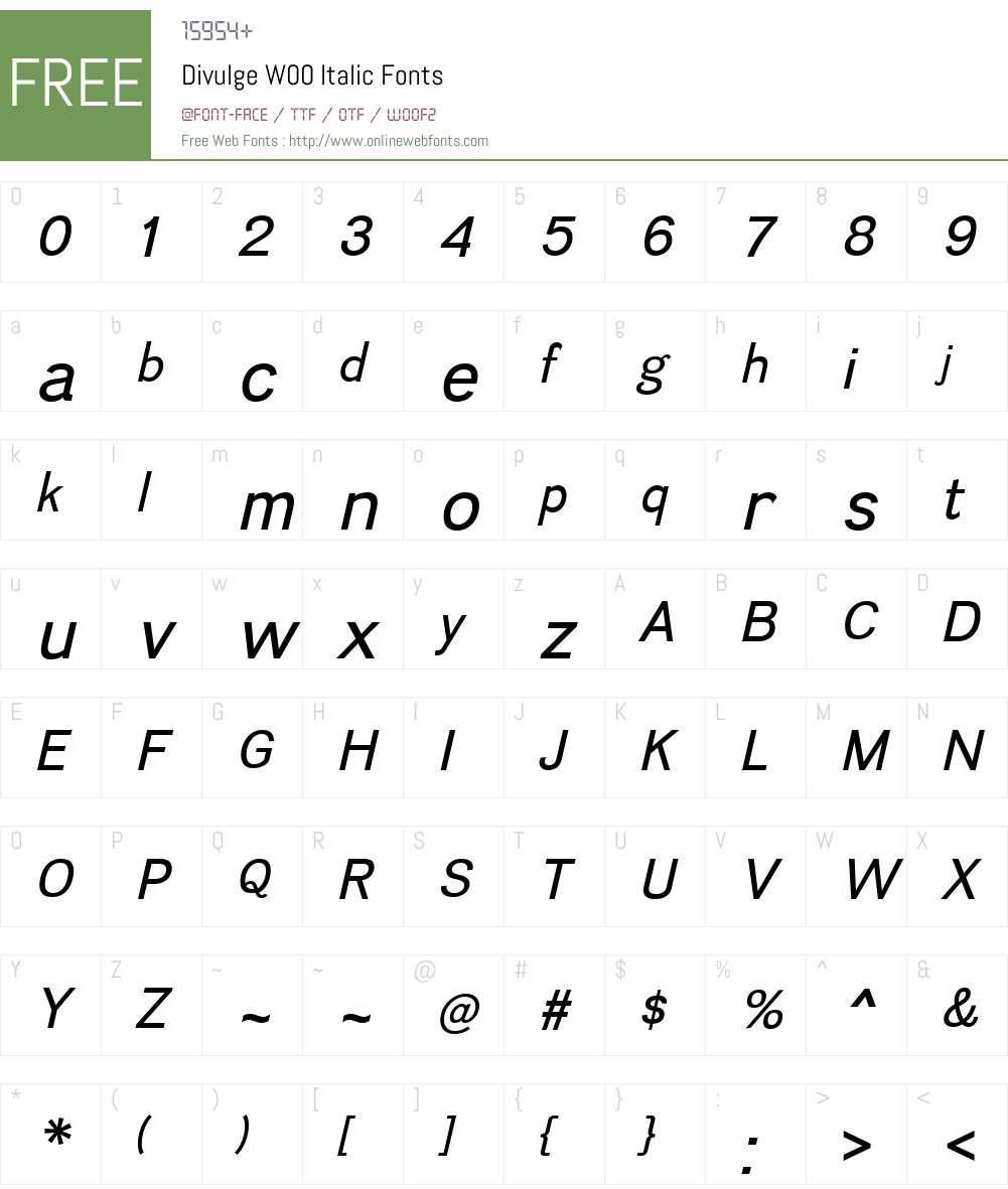 DivulgeW00-Italic Font Screenshots