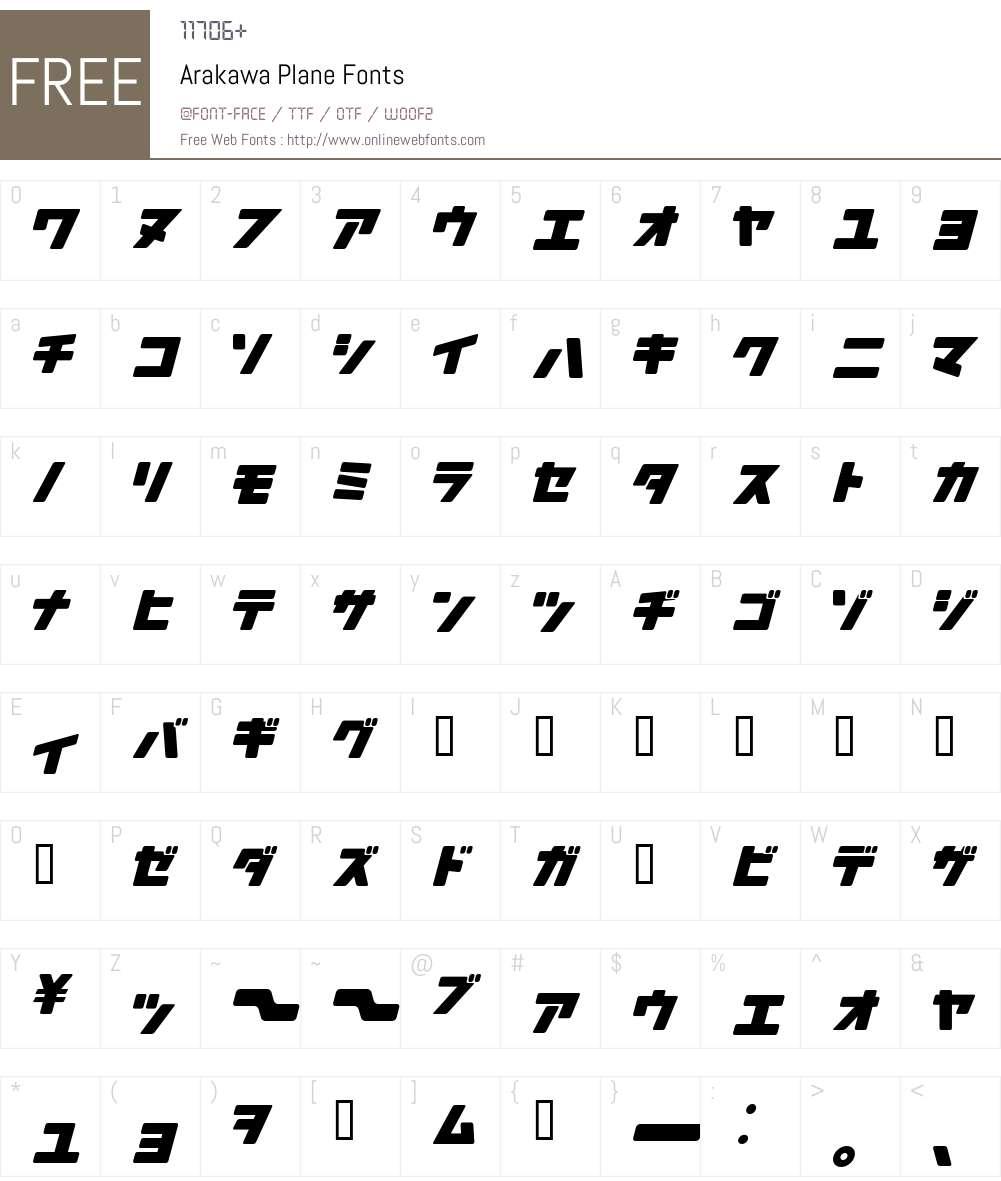 Arakawa Font Screenshots