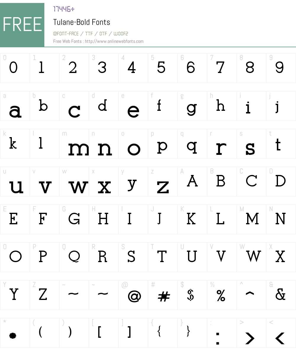 Tulane-Bold Font Screenshots