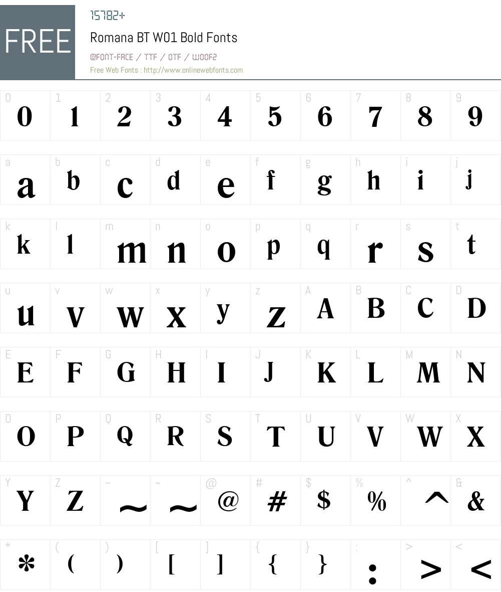 RomanaBTW01-Bold Font Screenshots