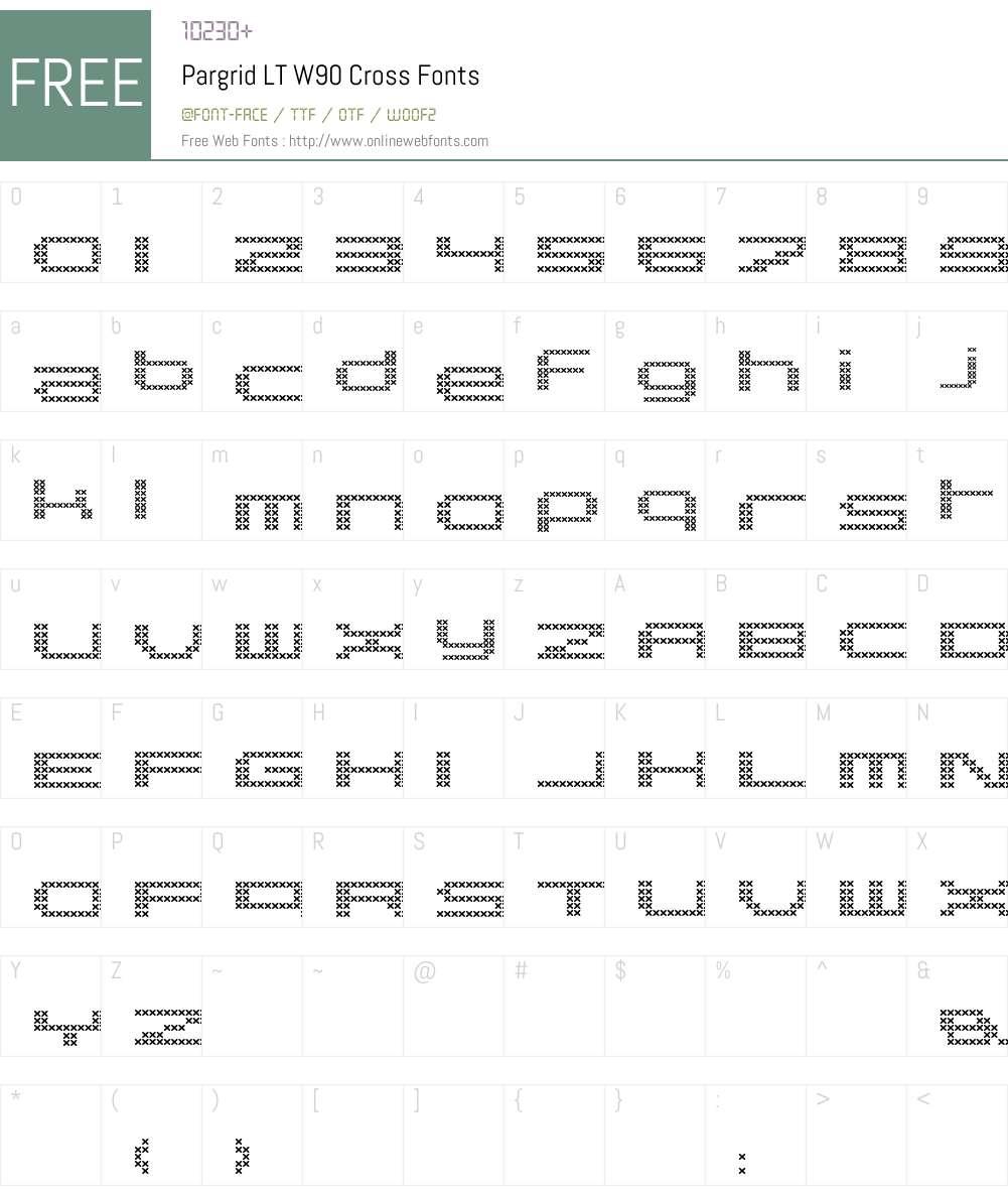 PargridLTW90-Cross Font Screenshots