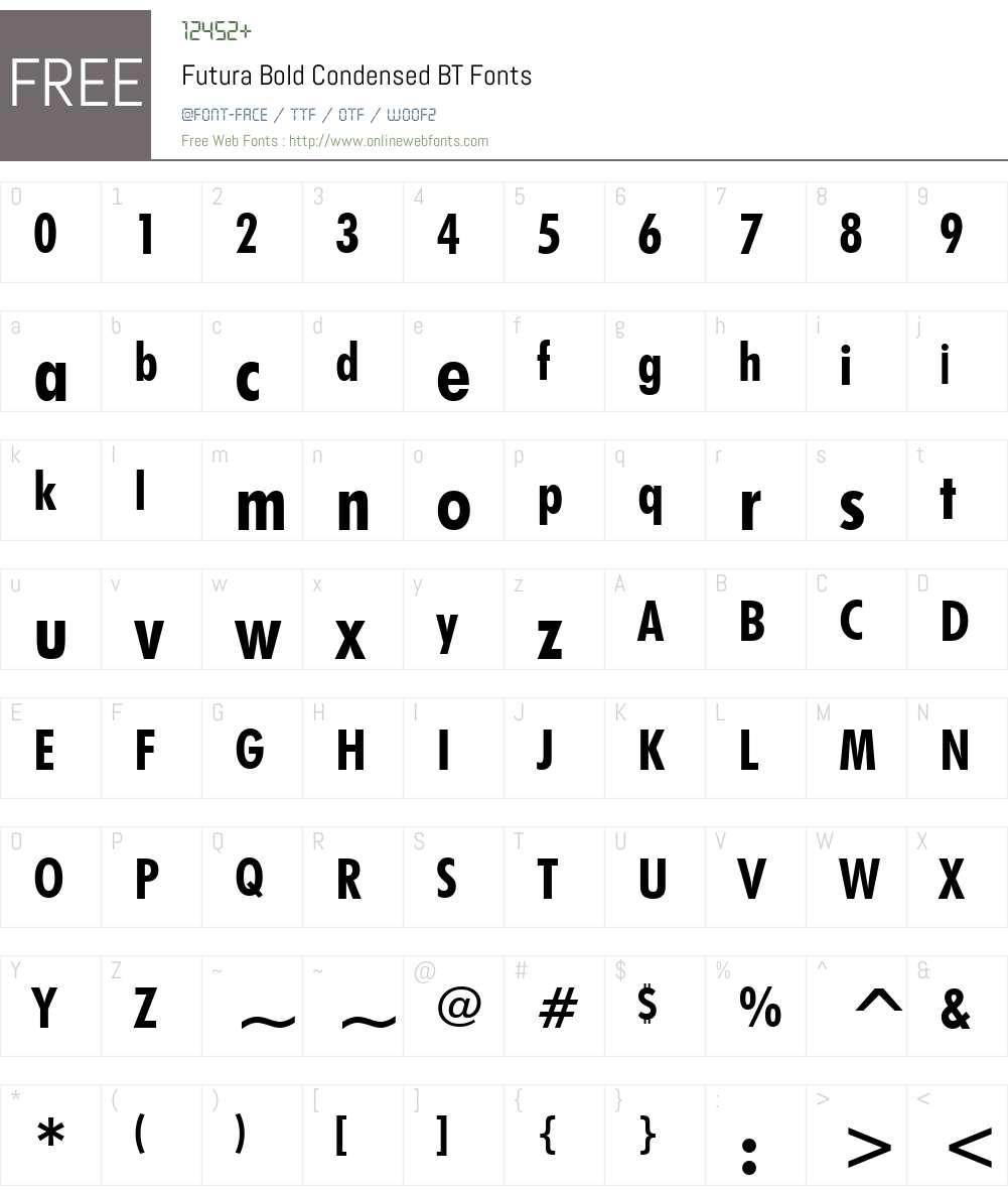 Futura BdCn BT Font Screenshots