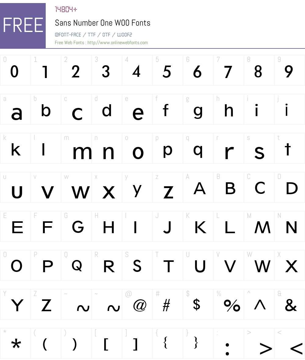 SansNumberOneW00 Font Screenshots