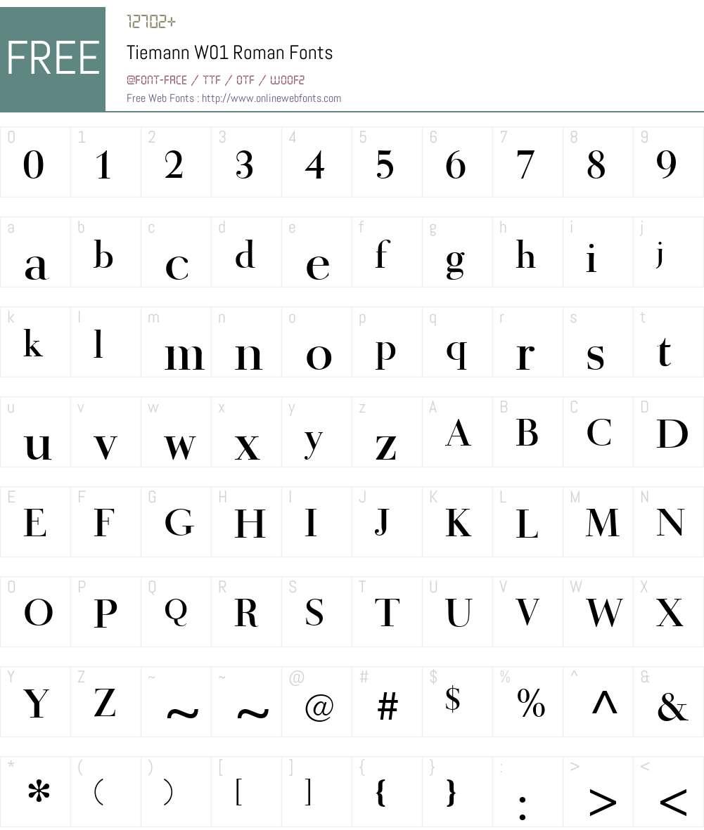 TiemannW01-Roman Font Screenshots