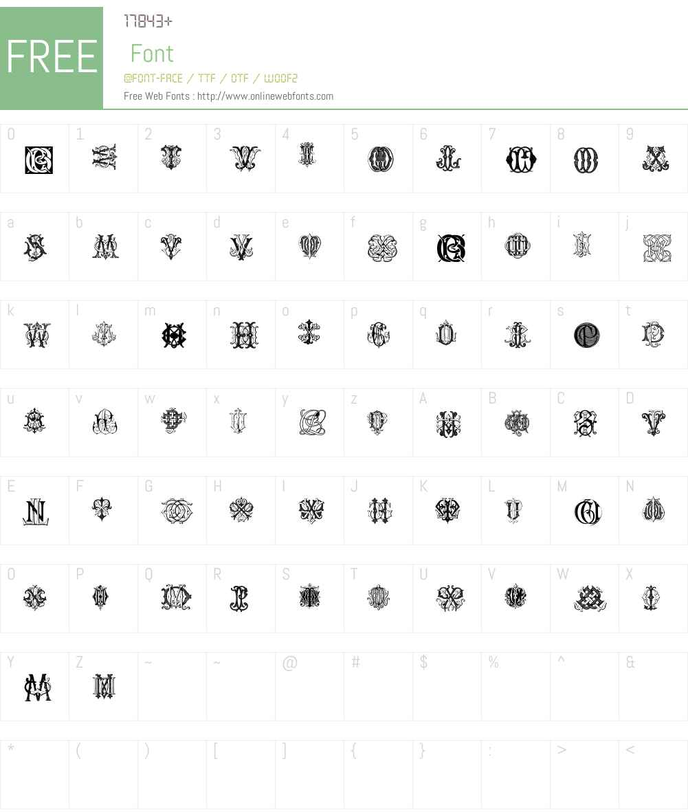 Intellecta Monograms Random Samples Three.vfb Font Screenshots