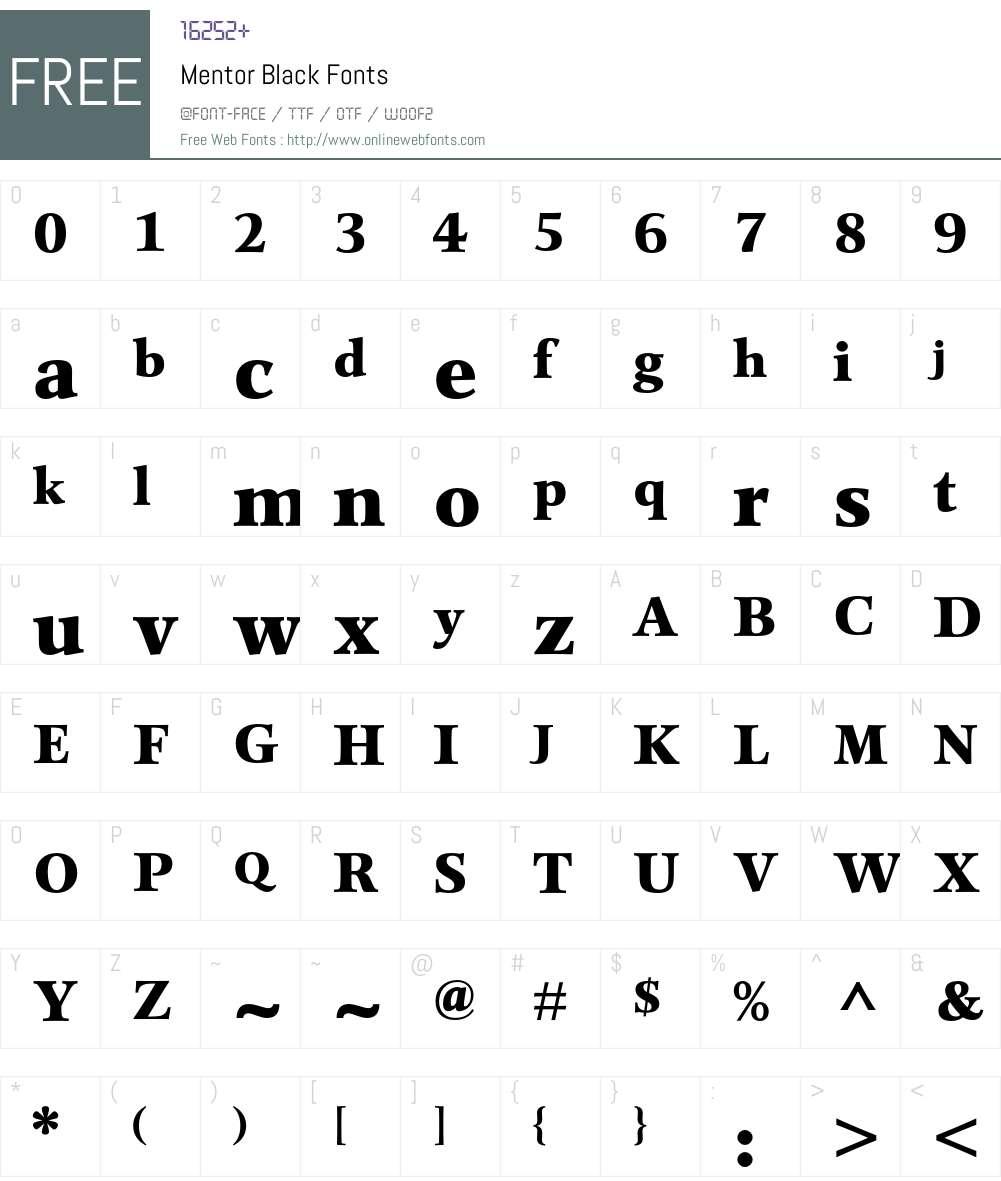 Mentor Font Screenshots