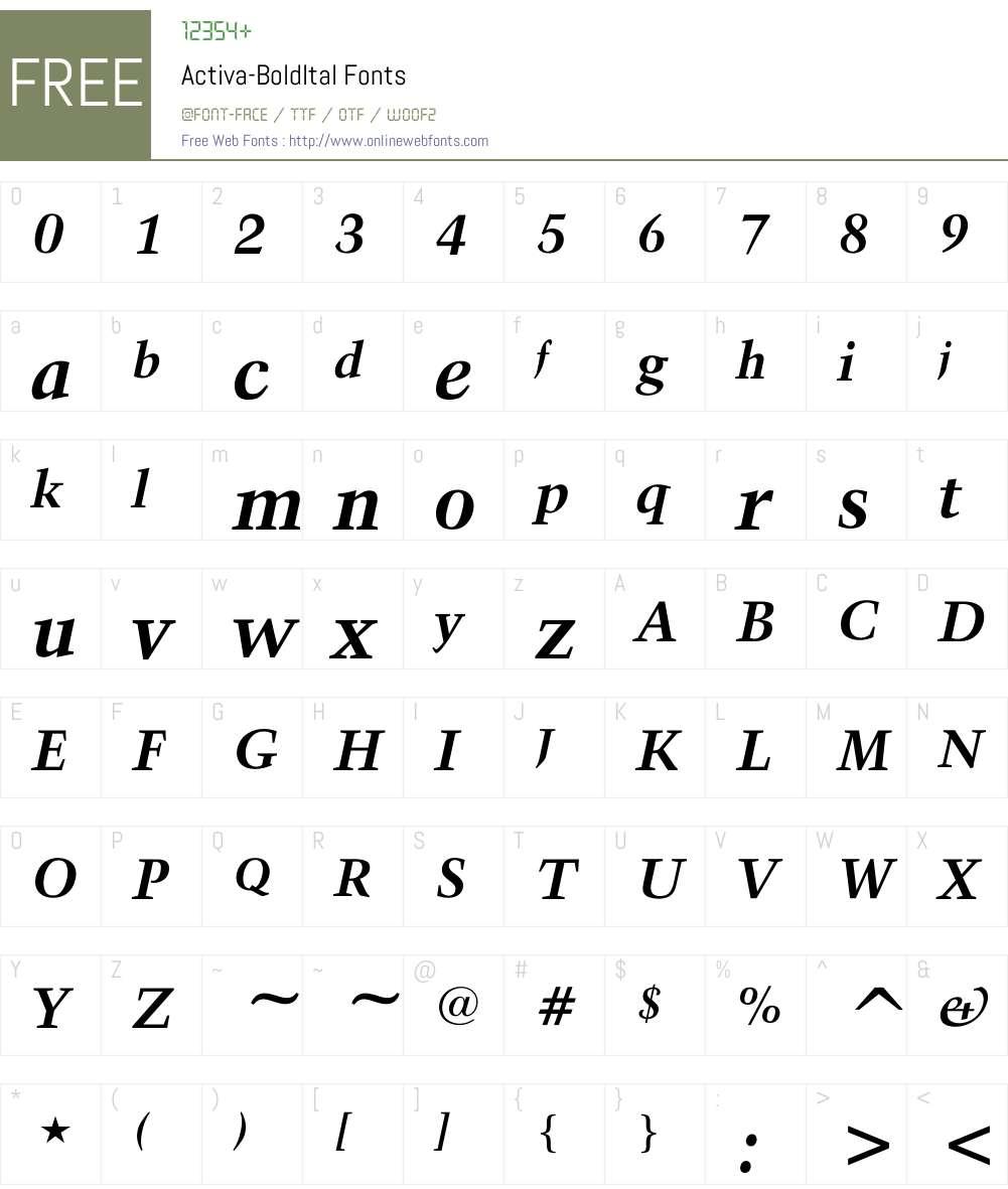Activa-BoldItal Font Screenshots