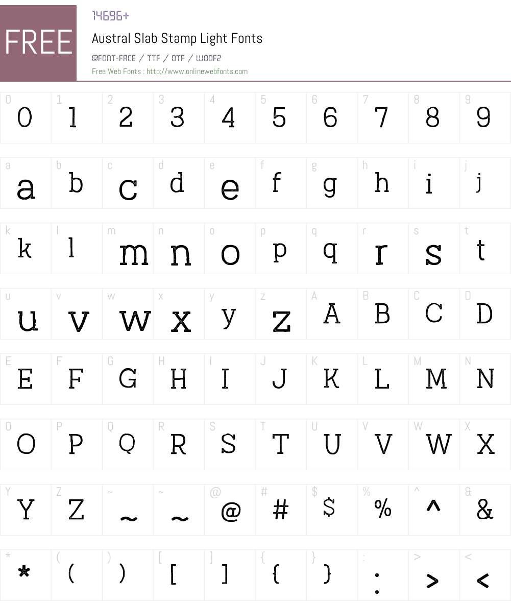 AustralSlabStamp-Light Font Screenshots