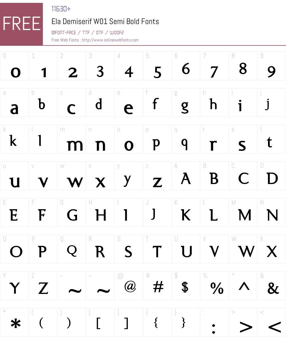 ElaDemiserifW01-SemiBold Font Screenshots