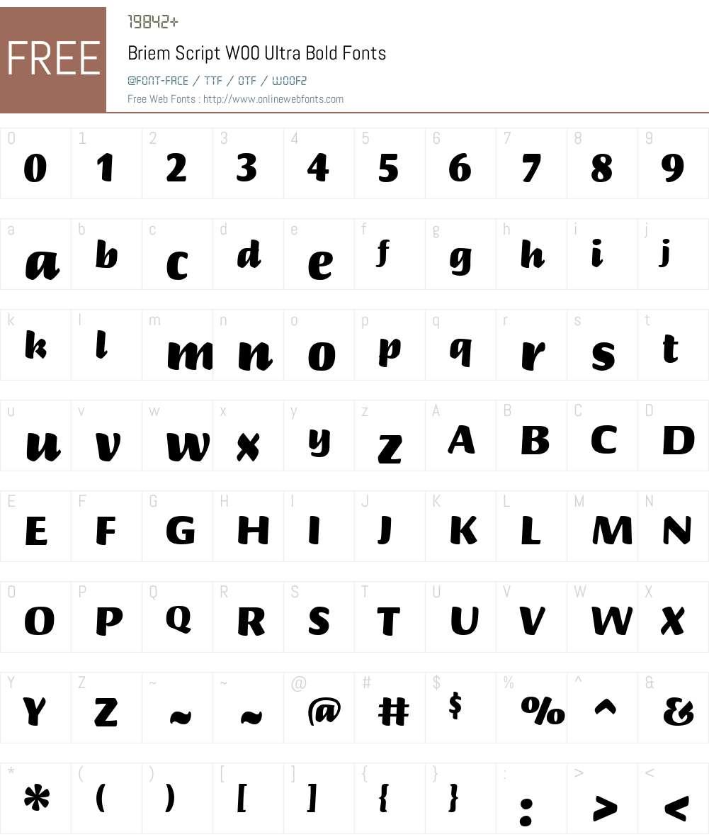 BriemScriptW00-UltraBold Font Screenshots