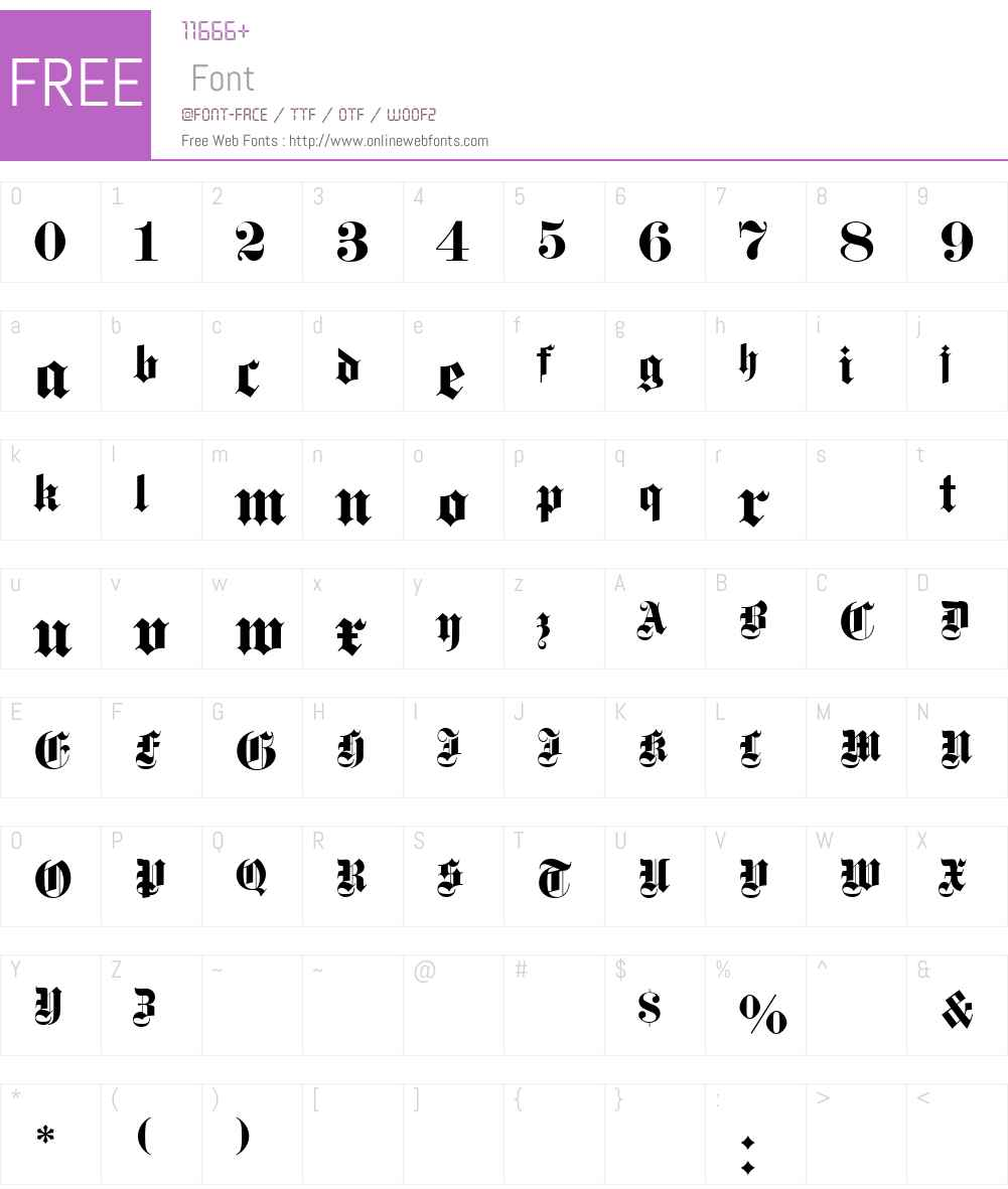 DS Fette Gotisch Font Screenshots