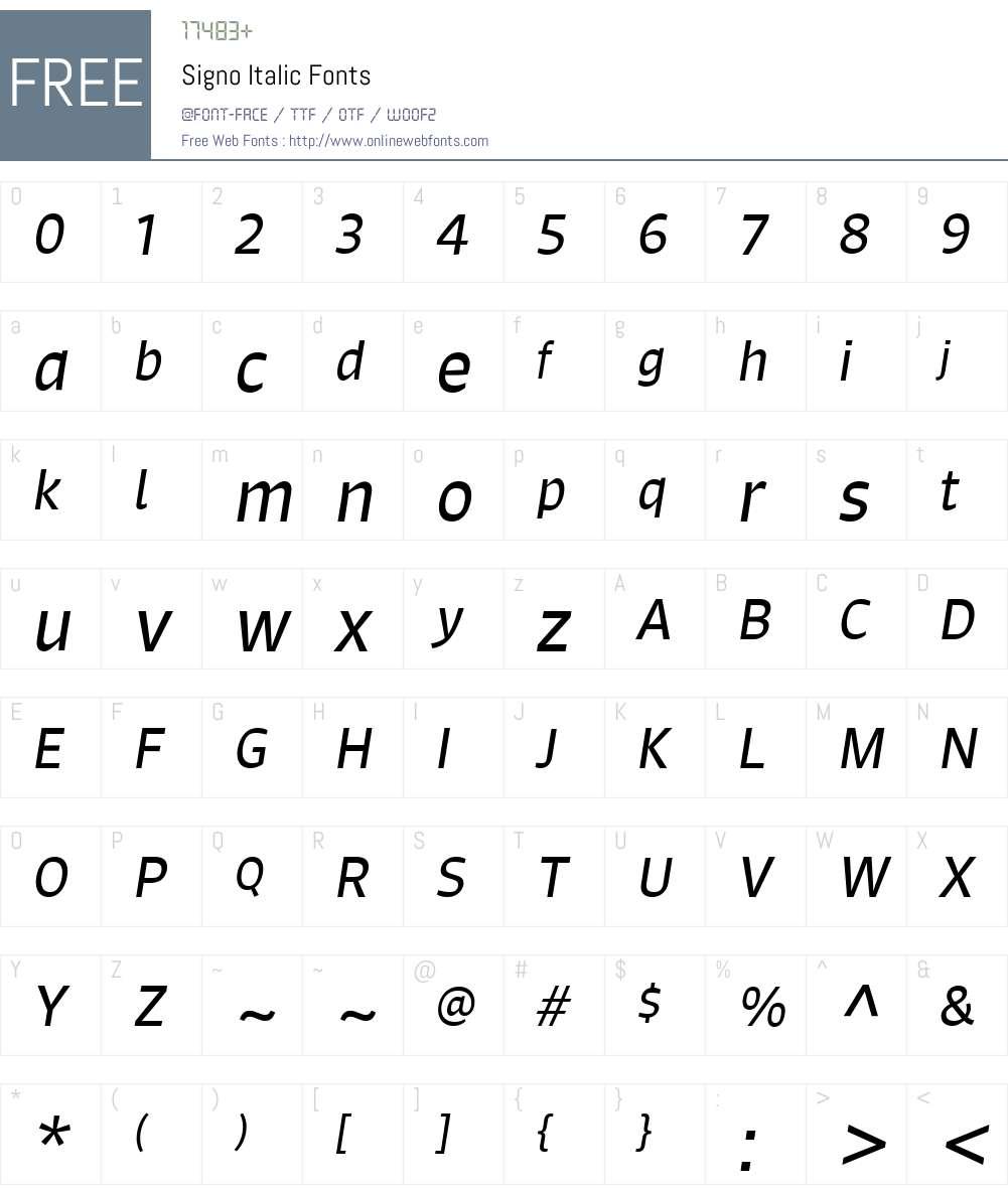 Signo Italic Font Screenshots
