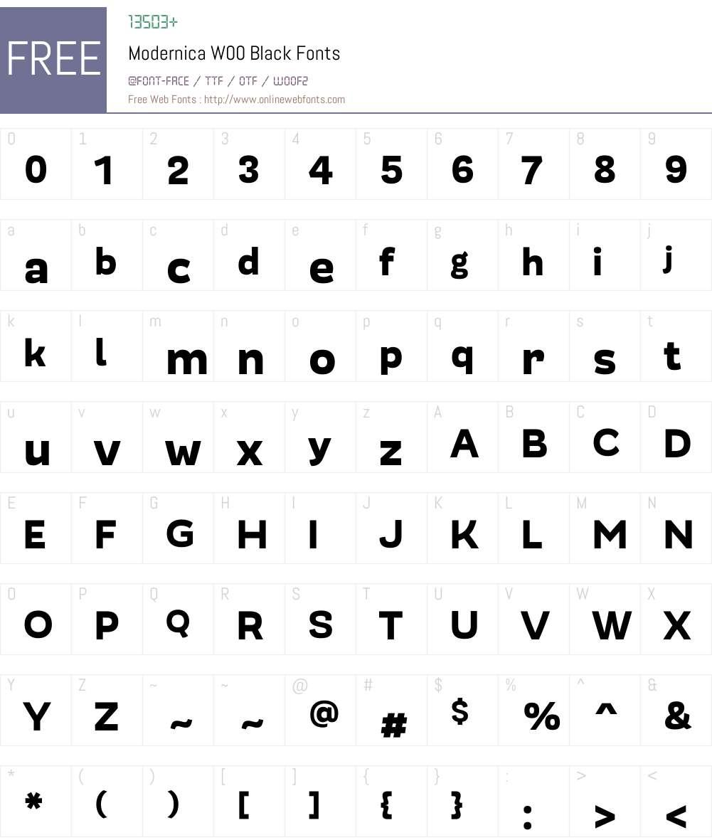 ModernicaW00-Black Font Screenshots