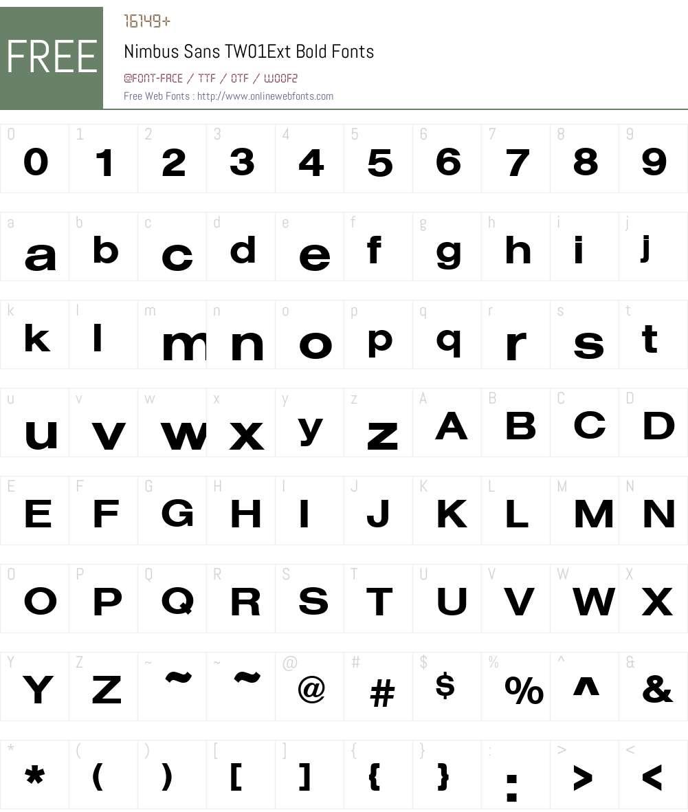 NimbusSanTW01ExtBold Font Screenshots
