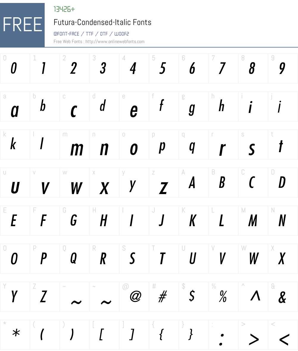 Futura-Condensed-Italic Font Screenshots