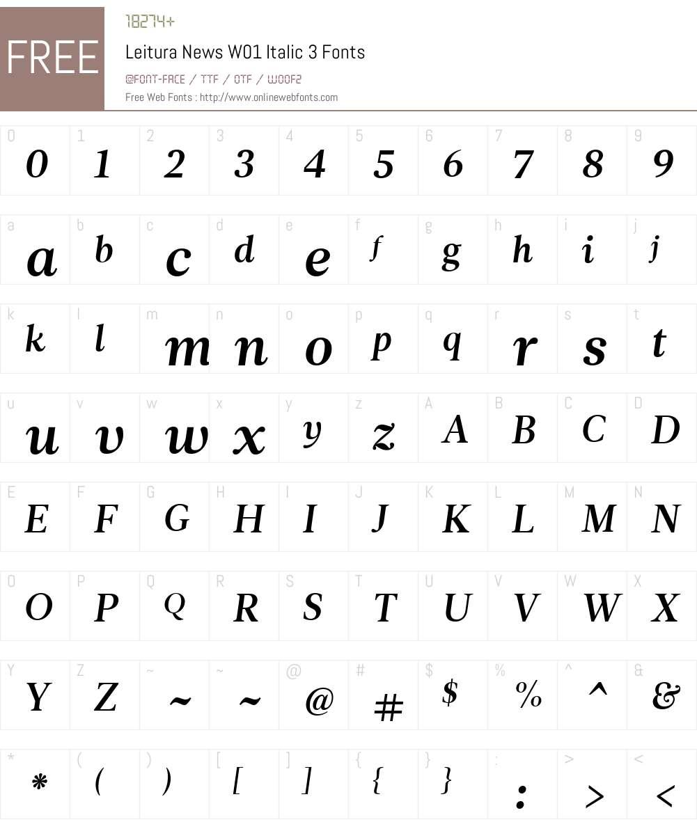 LeituraNewsW01-Italic3 Font Screenshots
