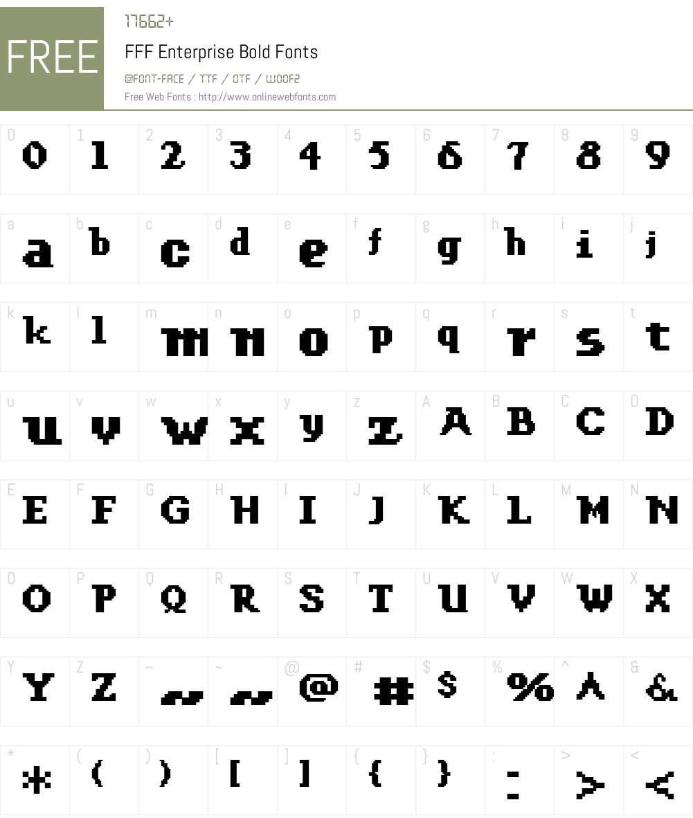 FFF Enterprise Bold Font Screenshots