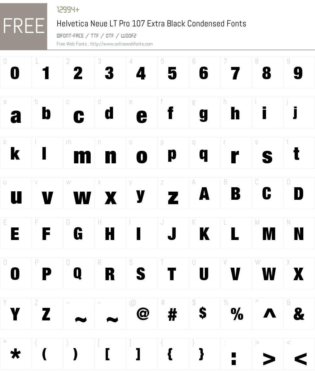 Helvetica Neue LT Pro Font Screenshots