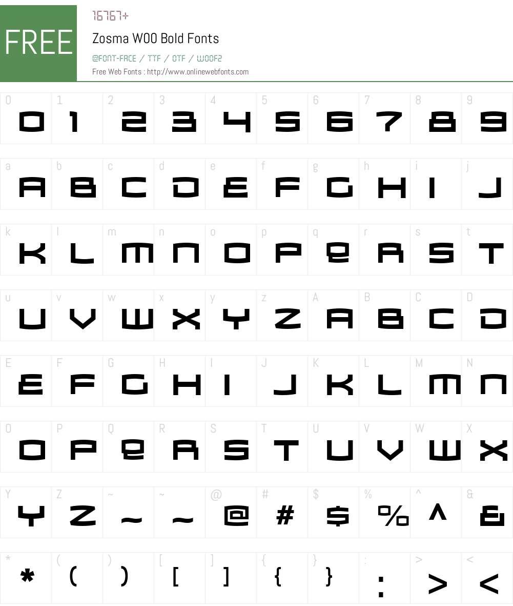 ZosmaW00-Bold Font Screenshots