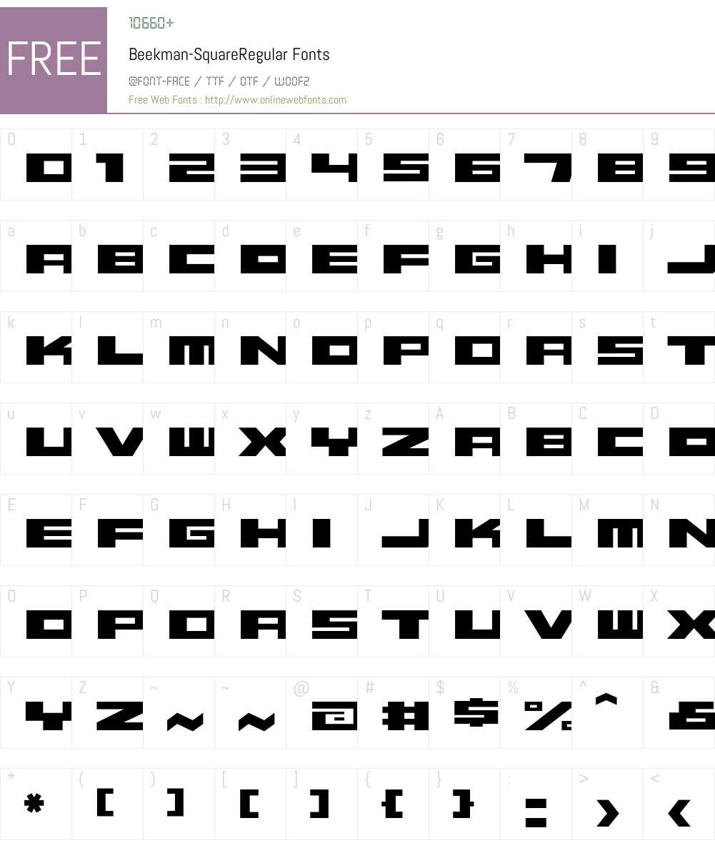 Beekman-SquareRegular Font Screenshots