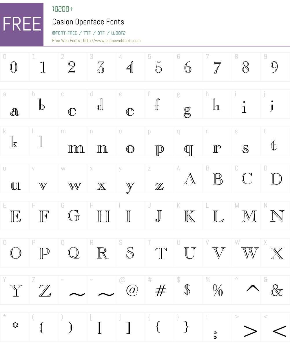Caslon Openface Font Screenshots