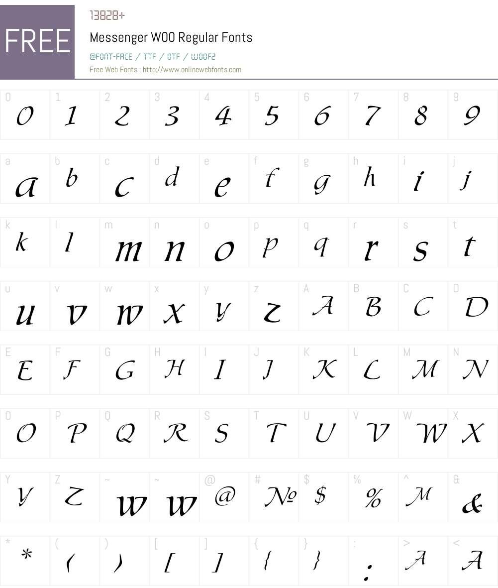 MessengerW00-Regular Font Screenshots
