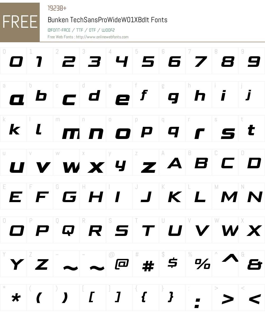 BunkenTechSansProWideW01-XBdIt Font Screenshots