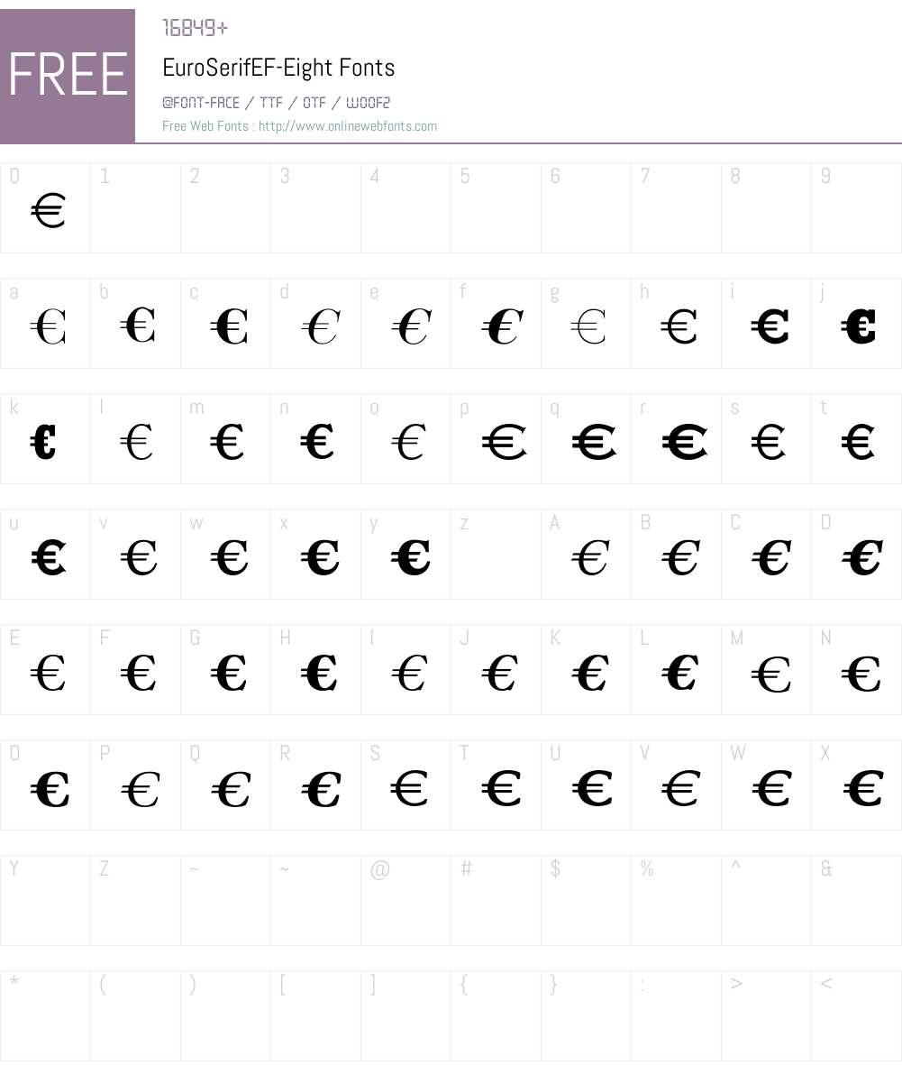 EuroSerifEF Font Screenshots