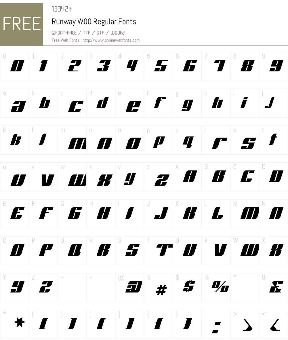 RunwayW00-Regular Font Screenshots