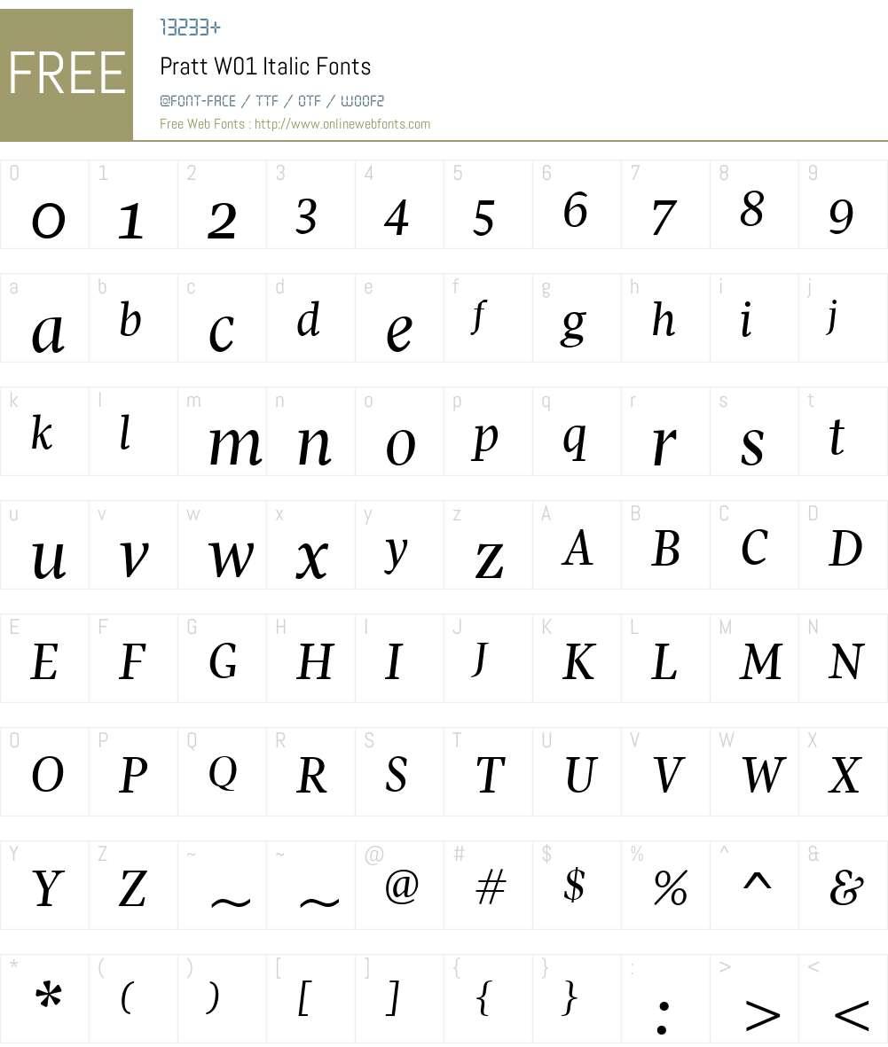 PrattW01-Italic Font Screenshots
