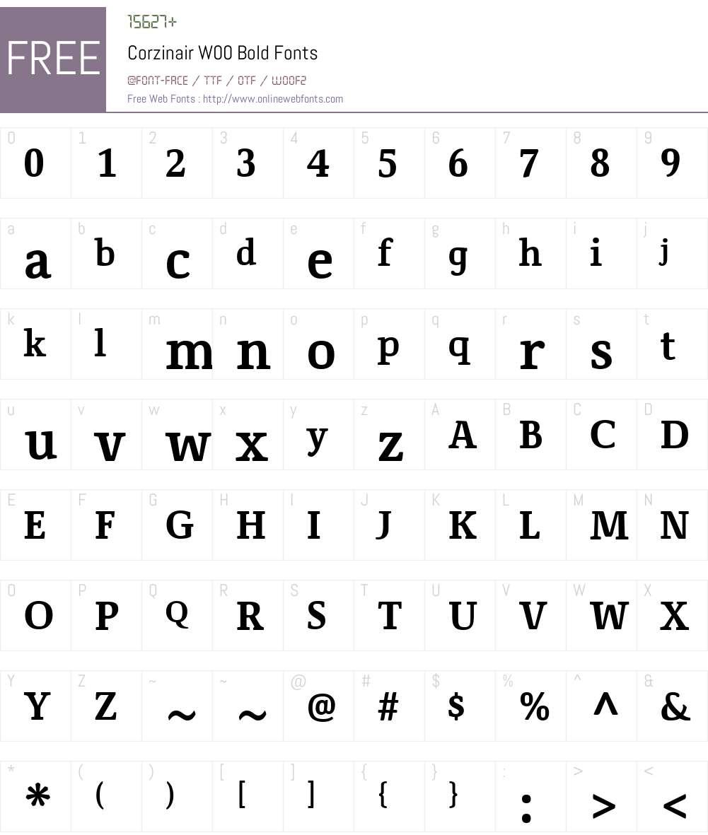 CorzinairW00-Bold Font Screenshots
