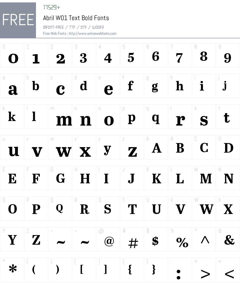 AbrilW01-TextBold Font Screenshots
