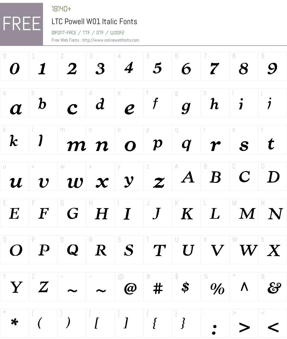 LTCPowellW01-Italic Font Screenshots